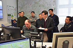 Chinesische Waldbrandexperten in der Waldbrandzentrale Wünsdorf